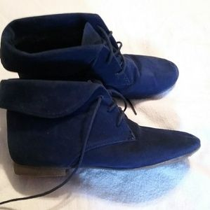 Dark blue suede flat ankle boots size 8